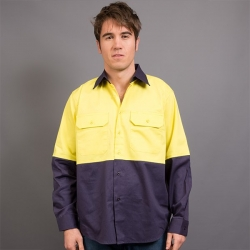 Cotton Drill Hi Viz Shirt LS